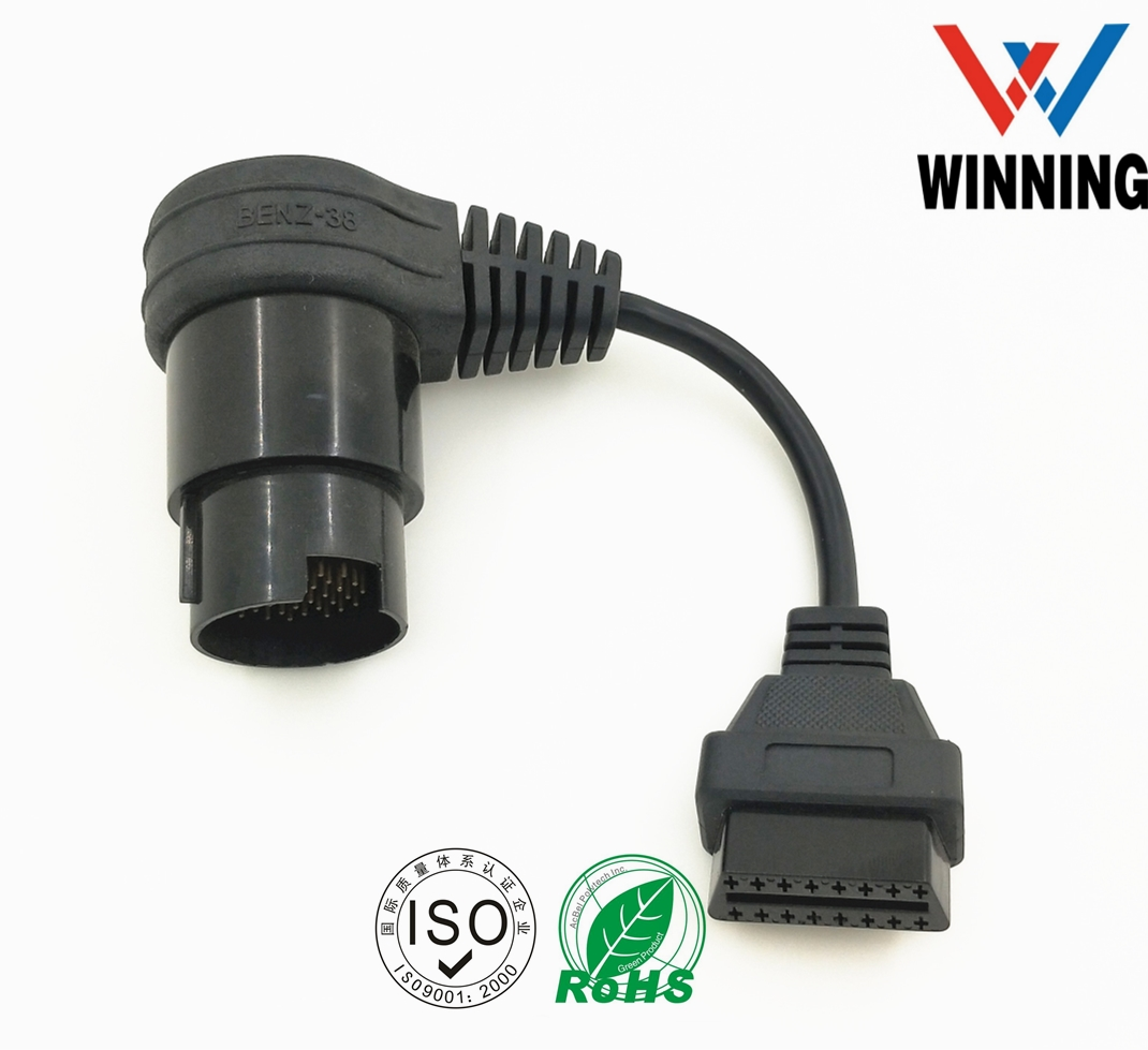 OBDII 16P J1962 Female to BENZ 38P 90° Female Connector cable