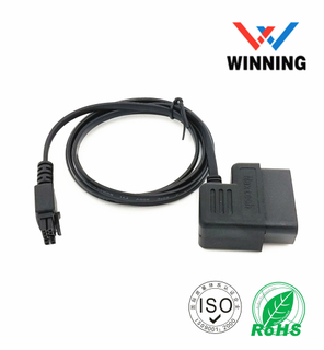 OBDII 16P J1962 90° Male to Molex3.0 2*5P Male GPS tracking flat cable